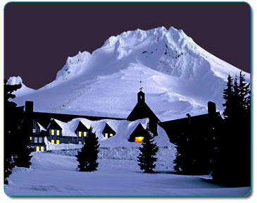 Mt. Hood, Timberline Lodge, nighttime, winter, David Jensen Photography